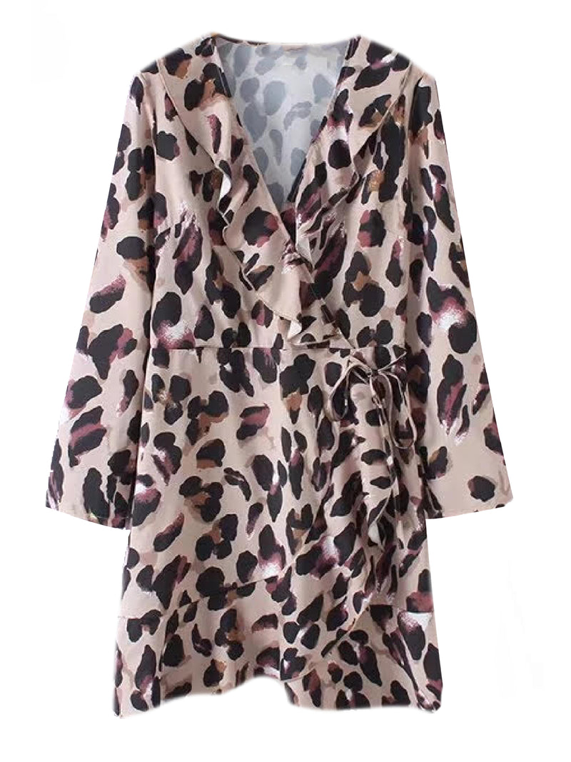 'Talisha' Leopard Print Ruffled Mini Wrap Dress