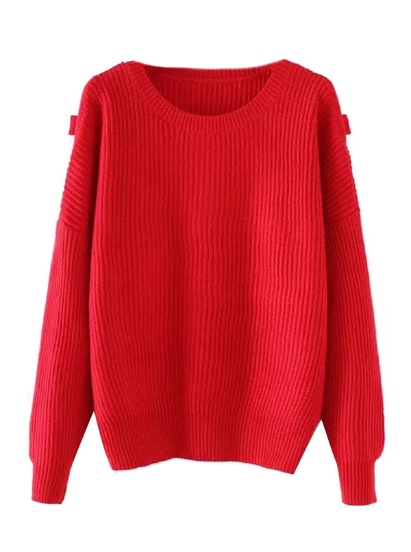 'Eliza' Red Knitted Sweater