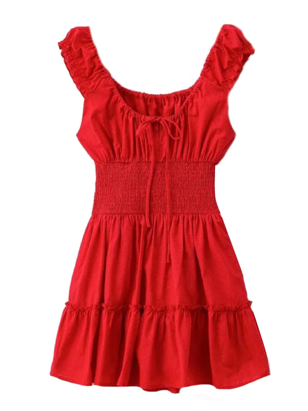 'Laddy' Ruched Tied Front Mini Dress (3 Colors)