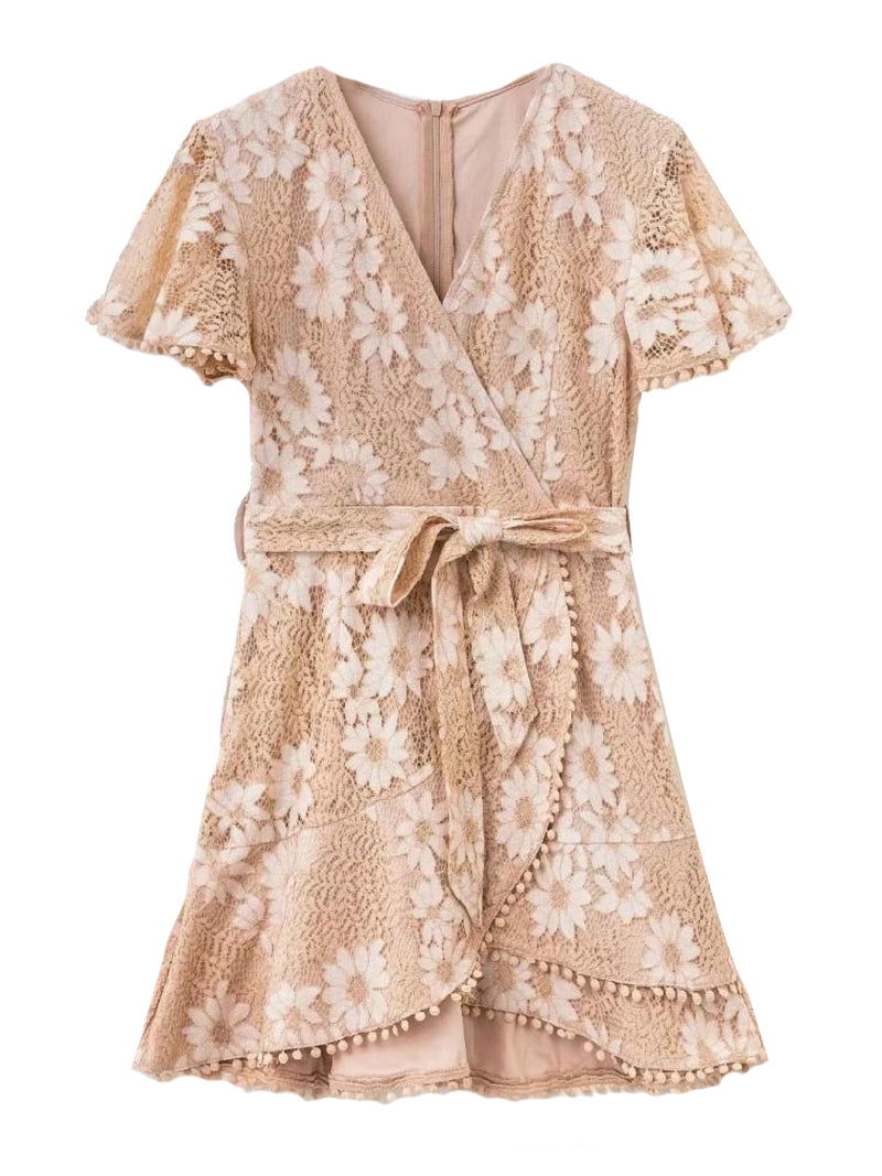 'Vincy' Floral Laced Wrap Mini Dress