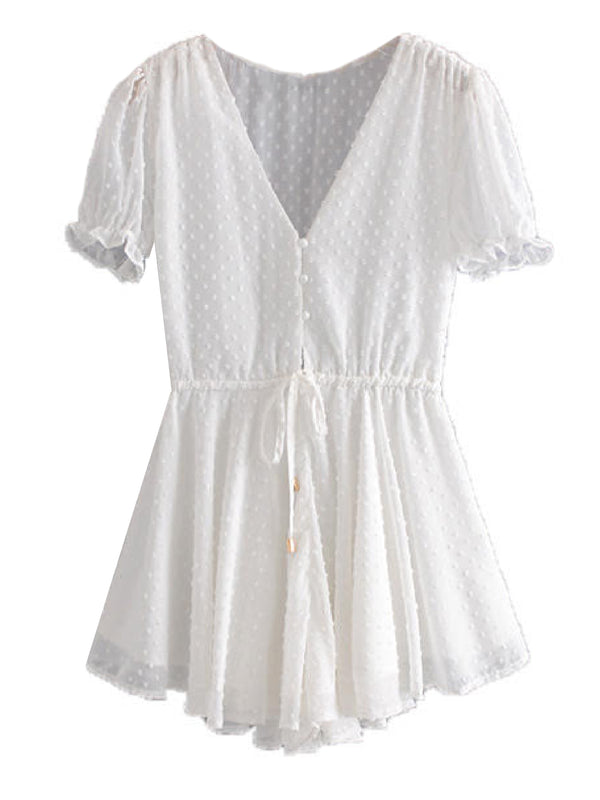'Rikki' Dotted Print Sheer Ruffled Romper