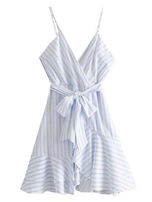 'Mina' Striped Ruffled Wrap Dress