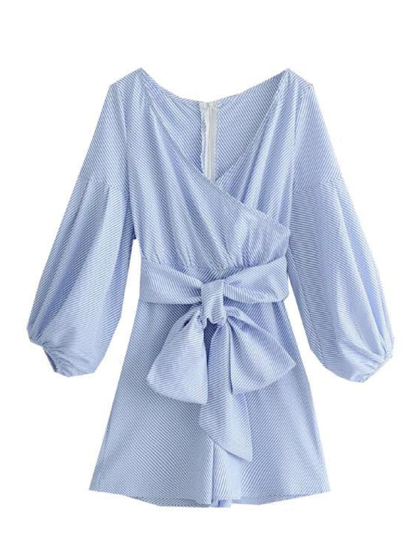 'Sandy' Puffy Sleeve Wrap Tied Waist Romper