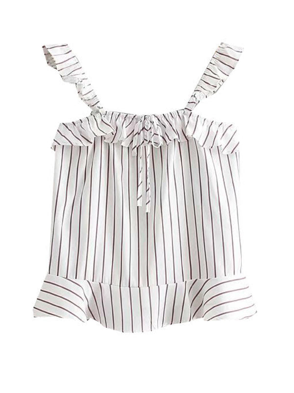 'Geena' Striped Ruffled Strap Top