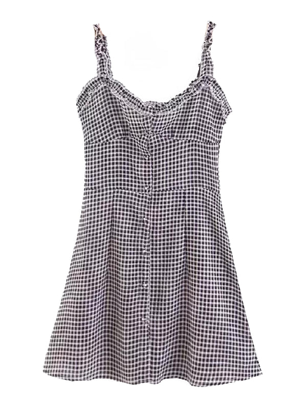 'Teresa' Checked Print Buttoned Front Mini Dress