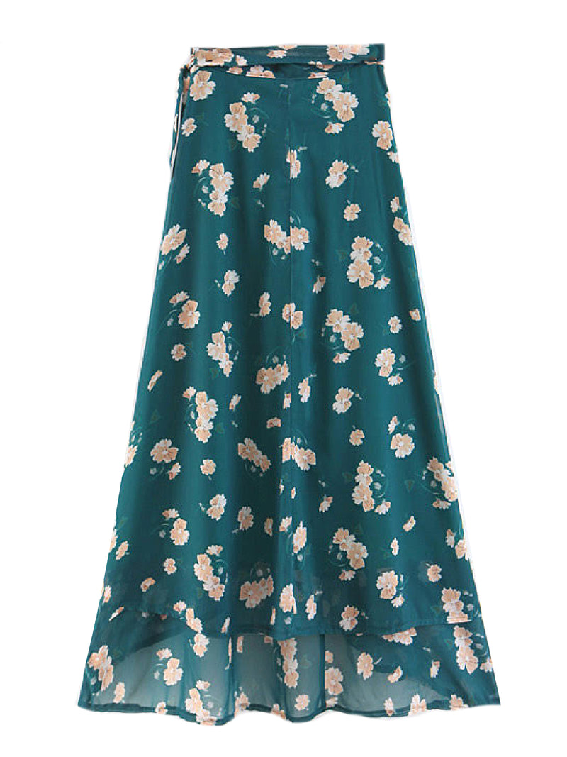 'Paris' Floral Wrap Skirt