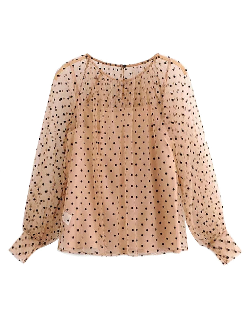 'Victoria' Polka Dot Sheer Blouse