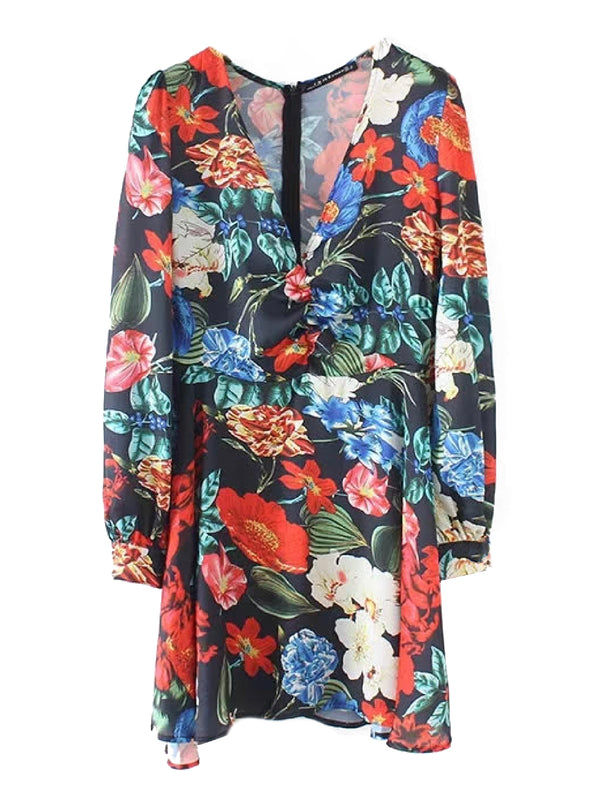 'Genevieve' Flower Print V-Neck Mini Dress