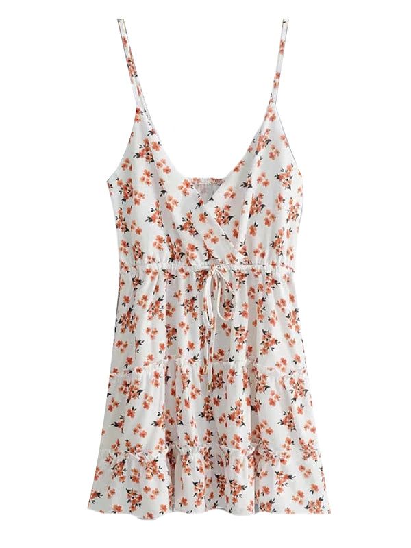 'Makenna' Floral Tied Waist Mini Dress
