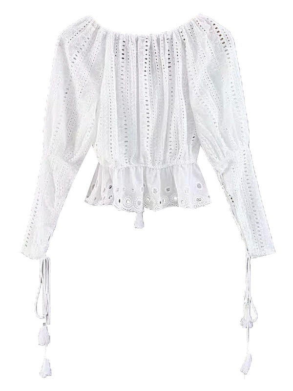 'Luciana' Broderie Anglaise Tassels Top