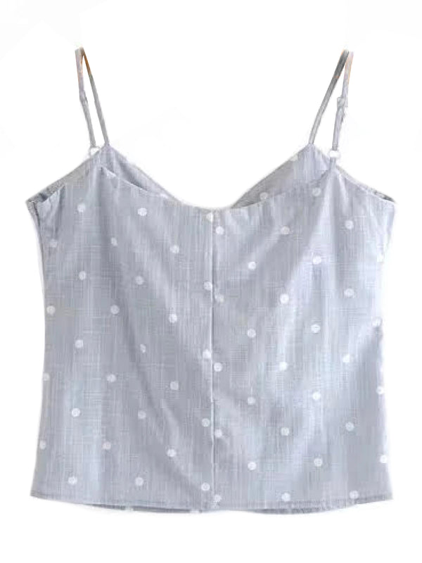 'Aviana' Linen Polka Dot Tied Front Top