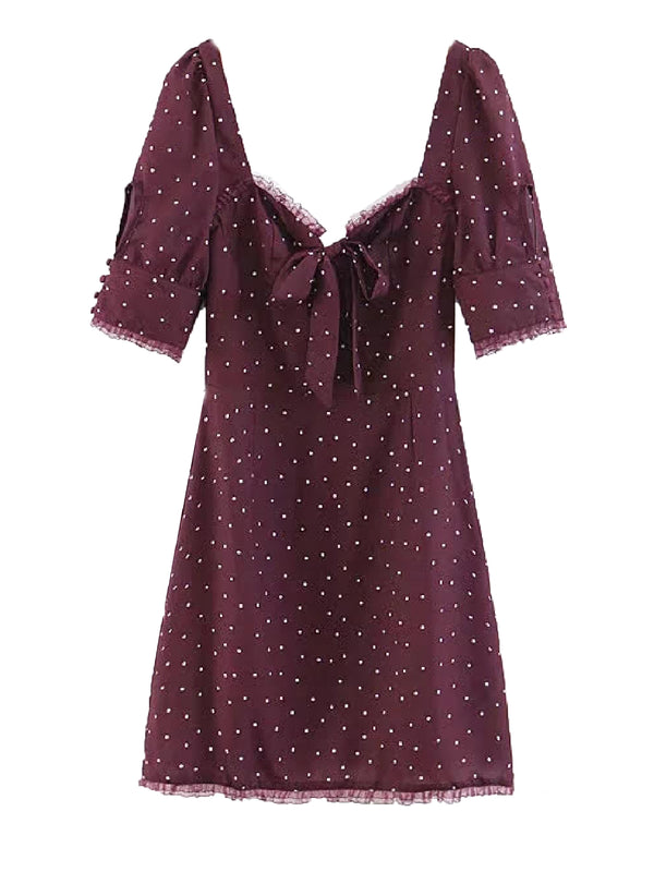 'Janelle' Polka Dot Lace Trimmed Mini Dress