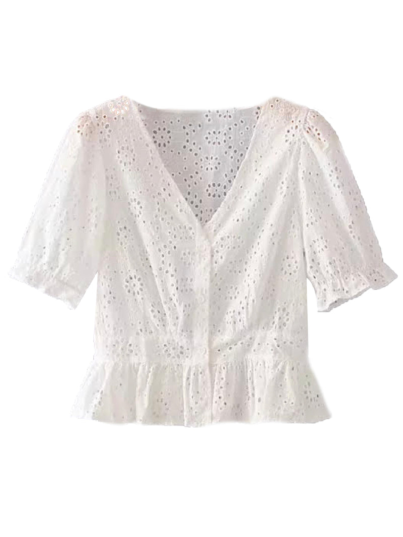 'Hazel' Broderie Anglaise Button Front Top (2 Colors)