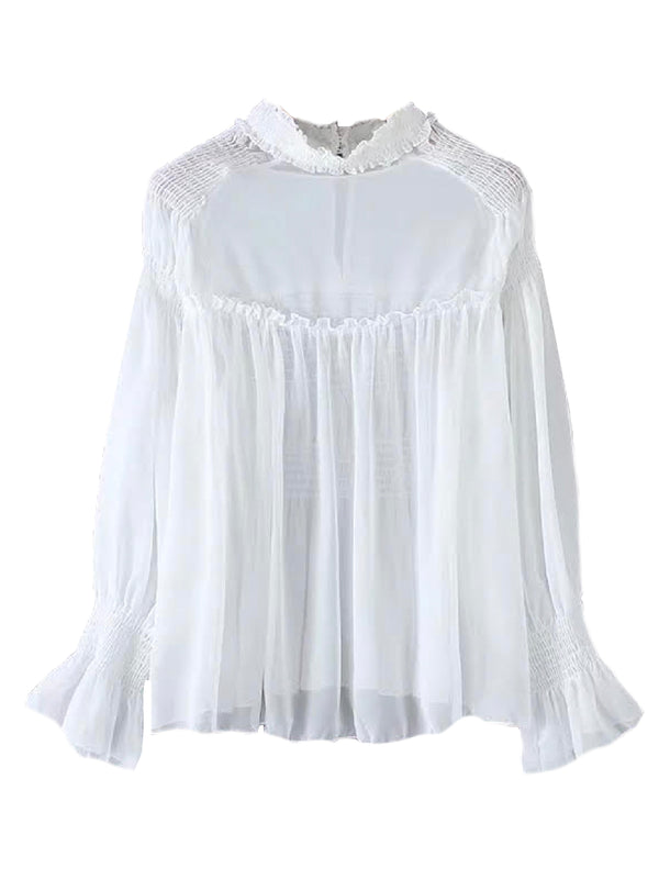 'Alanna' Ruched High Neck Sheer Blouse (4 Colors)