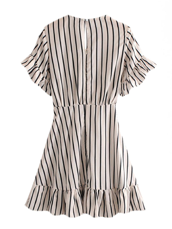 'Greta' Striped Knotted Front Mini Dress