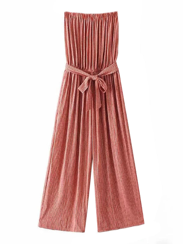 'Oaklee' Striped Strapless Tied Waist Jumpsuit (2 Colors)