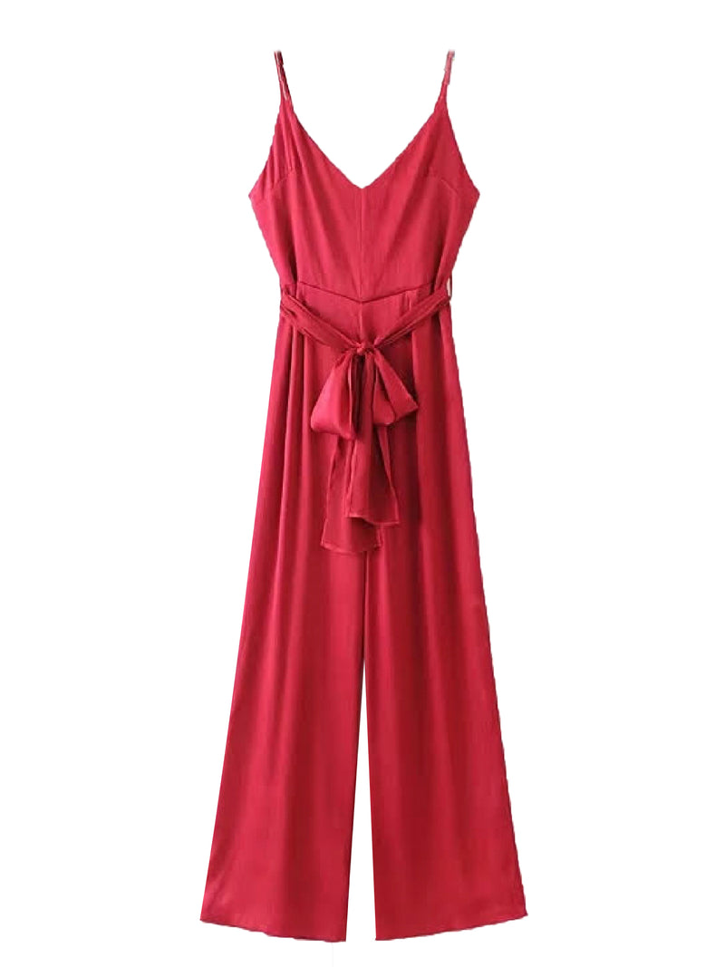 'Kyra' Tied Waist Strap Jumpsuit (2 Colors)