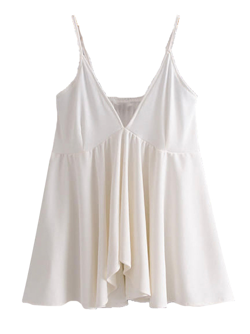 'Noor' V-Neck Ruffled Strap Top (3 Colors)