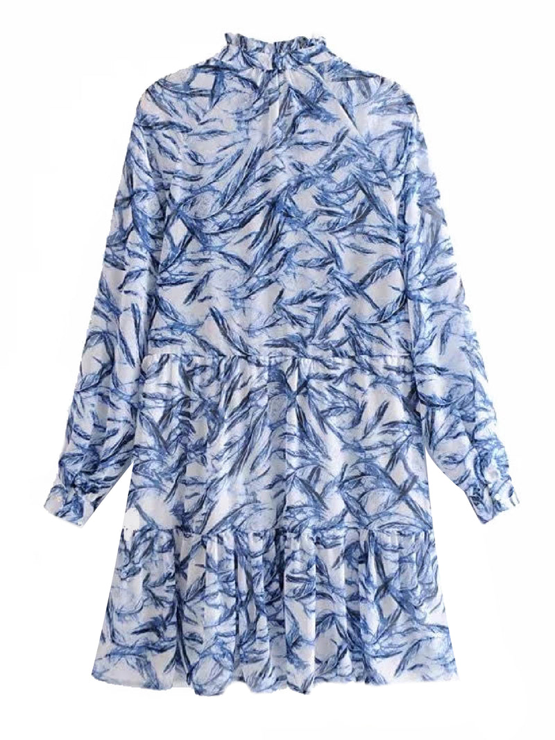 'Ramona' Feather Print Mini Dress (2 Colors)