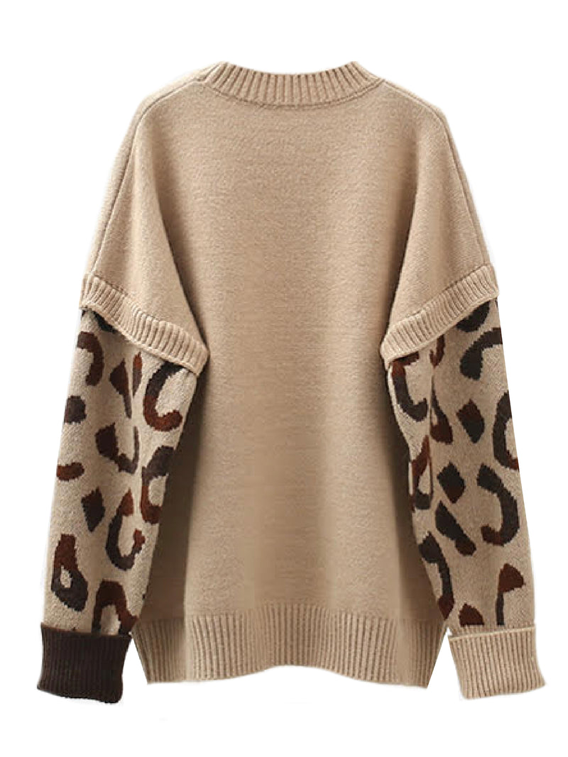 'Micah' Leopard Print Sleeve Crewneck Sweater (2 Colors)