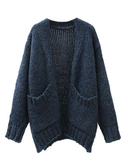 'Meadow' Pocket Front Knitted Open Cardigan (2 Colors)