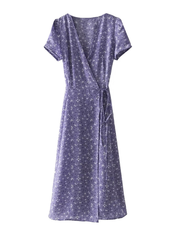 'Adyson' Printed V-Neck Wrap Midi Dress (3 Colors)