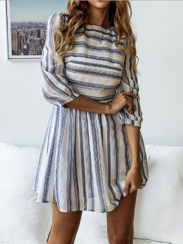 'Kindra' Striped Boat Neck Mini Dress (2 Colors)