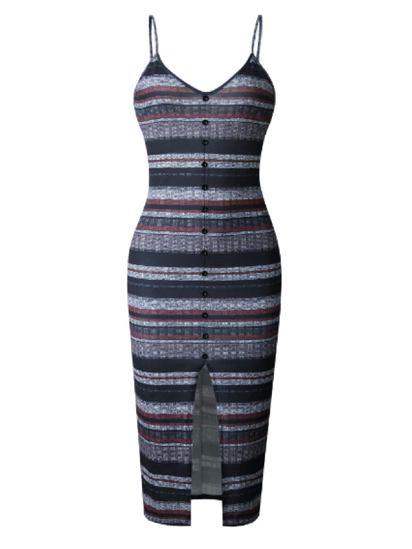 'Meg' Striped Button Front Strap Knit Dress (2 Colors)