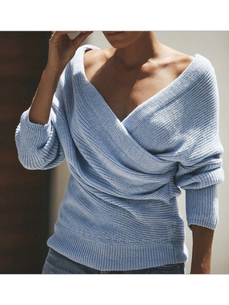 'Osma' Knitted Wrap Sweater (2 Colors)