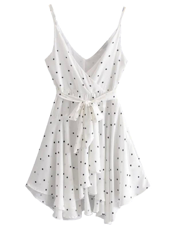 'Betty' Polka Dot Tied Waist Frilled Mini Dress