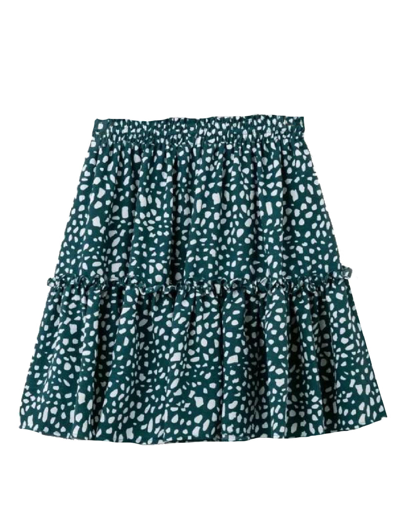 'Carly' Dotted Print Ruched Mini Skirt