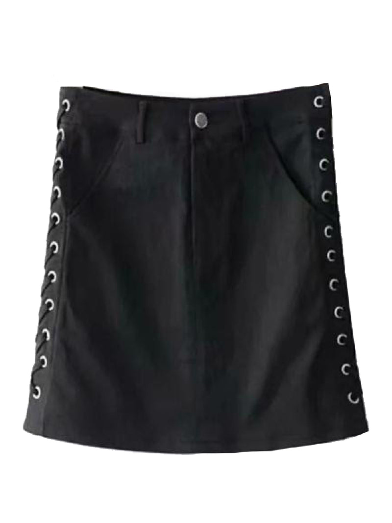 'Kennedy' Laced Up Side Mini Denim Skirt (3 Colors)