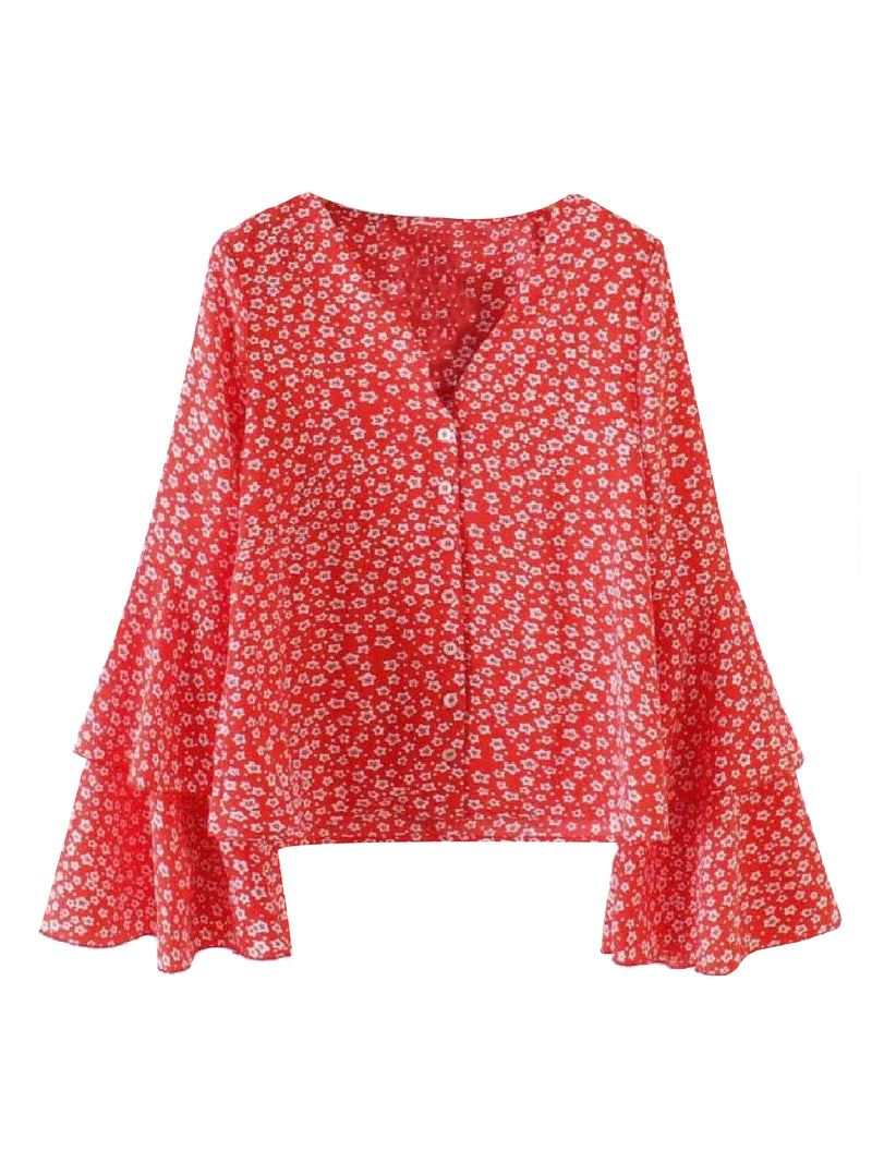 'Margaux' Floral Print Flared Sleeve Blouse