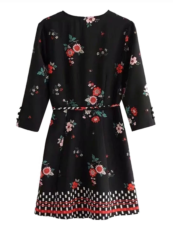 'Zakia' Flower Print Wrap Mini Dress