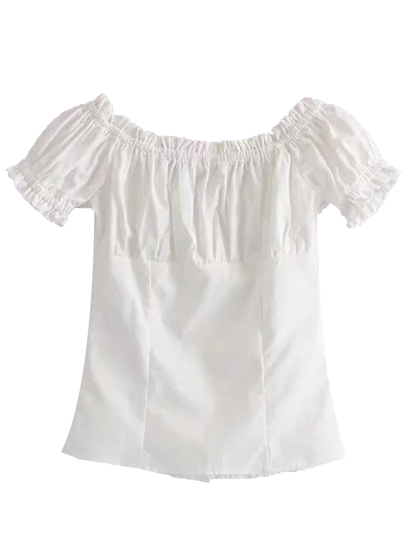 'Tyra' Button Front Frilled Trim Top