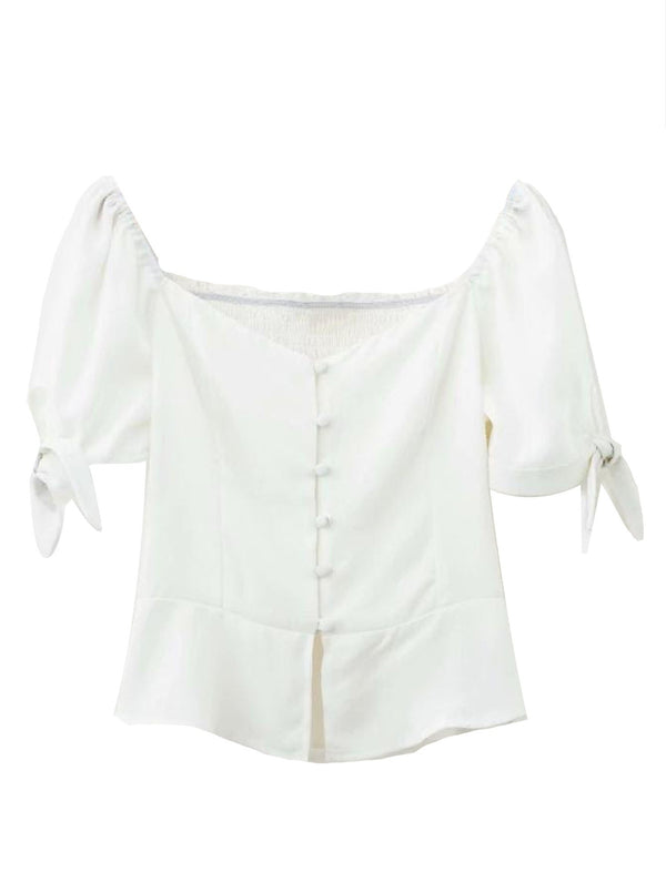 'Ramona' Button Front Tied Sleeve Top
