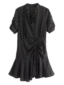 d08aaa0b924 Mildred  Polka Dot Ruched Front Frilled Mini Dress - Goodnight Macaroon