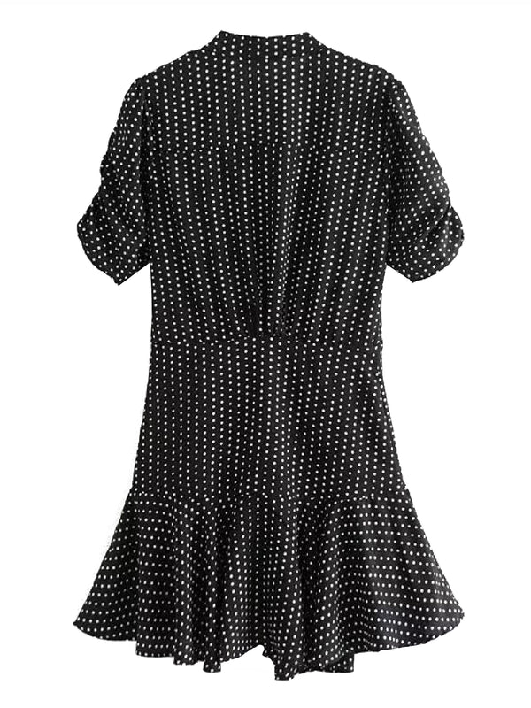 'Mildred' Polka Dot Ruched Front Frilled Mini Dress