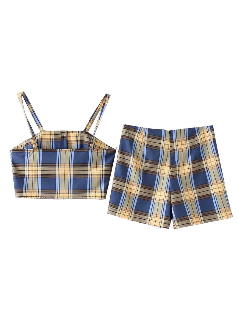 'Simran' Plaid Buttoned Crop Top Skorts Co-ord