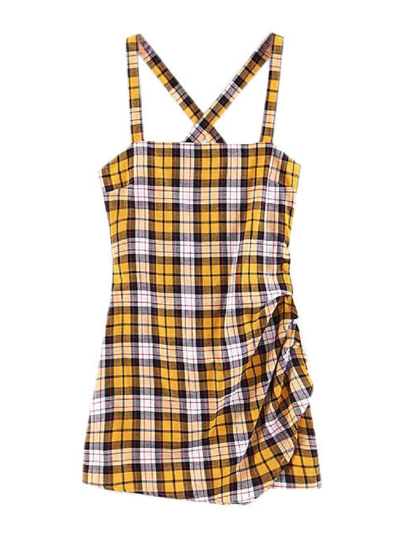'Wallis' Plaid Crossed Back Mini Dress