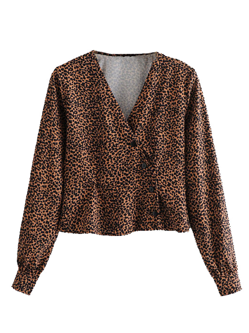 'April' Leopard Print Asymmetrical Buttoned Top