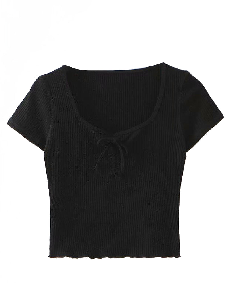 'Maia' Ribbed Knit Front Bow Square Neck Crop Top (5 Colors)