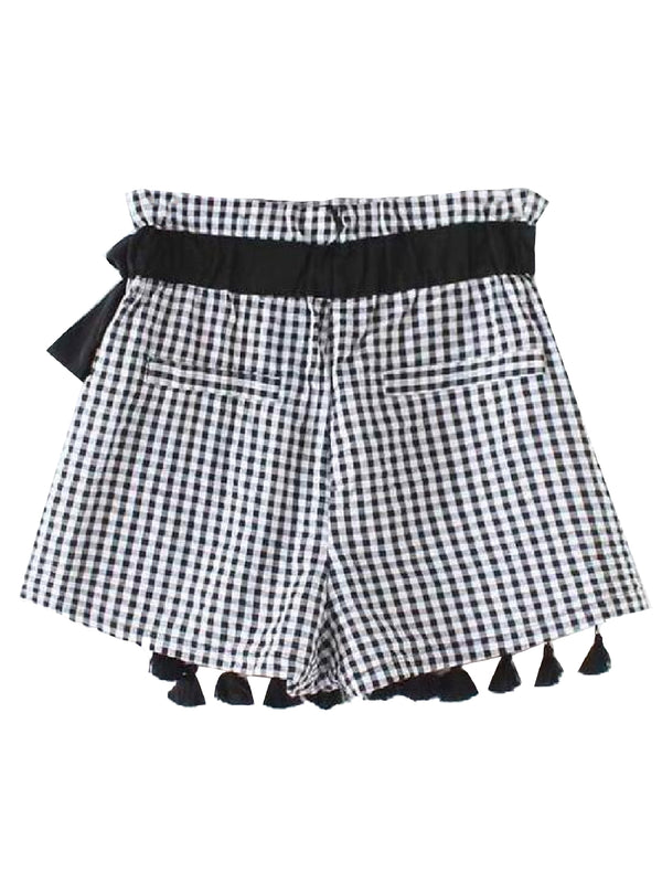 'Mia' Checked Paper Bag Pom Pom Skort