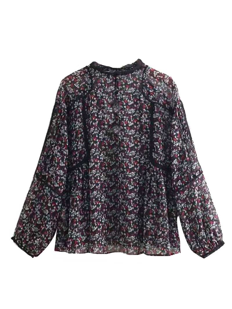 'Sofia' Floral Lace Trimmed Sheer Blouse