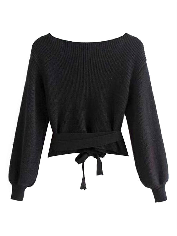 'Heidi' Ribbed Knit Wrap Sweater (2 Colors)