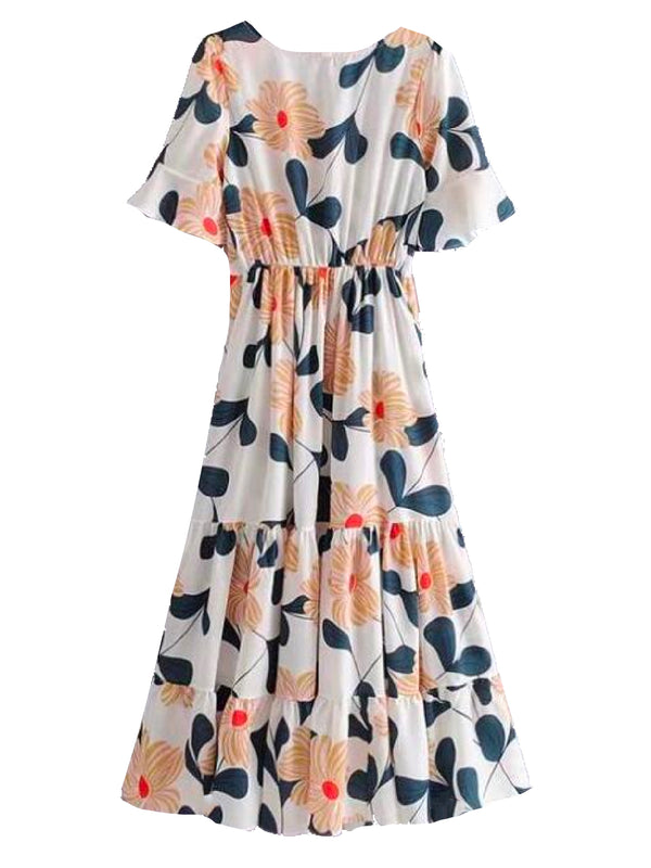 'Alondra' Flower Print Flared Midi Dress