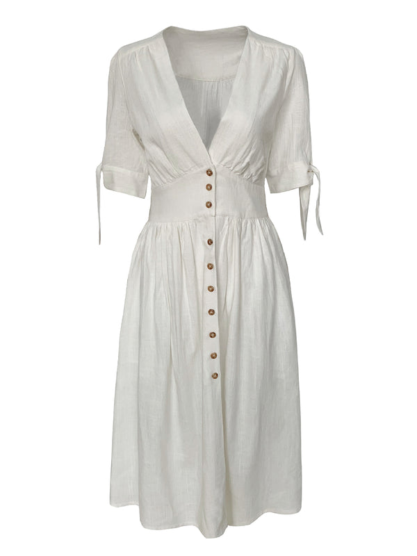 'Hedy' Linen Button Front Tied Sleeves Midi Dress