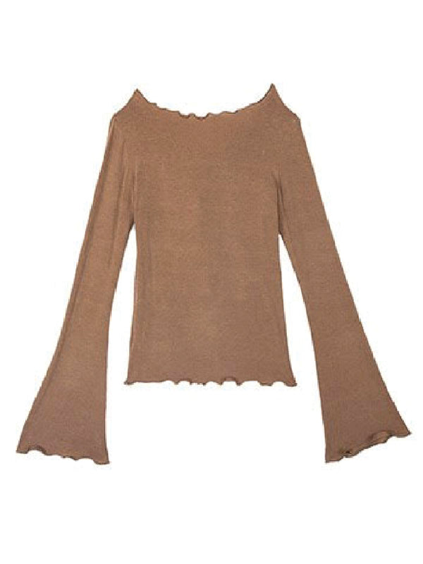 'Agatha' Ruffled Trim Long Sleeves T-Shirt