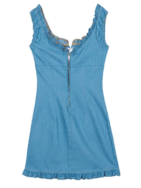 'Indira' Laced Up Front Ruffled Chambray Mini Dress