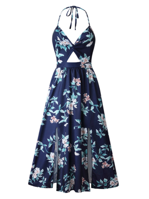 'Adiba' Floral Halter Neck Side Slits Midi Dress